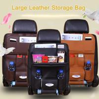 PU Leather Car Seat Back Hanging Organizer Cover Auto Seat Back Multi pocket Protection Pad Travel Table Storage Holder Bag