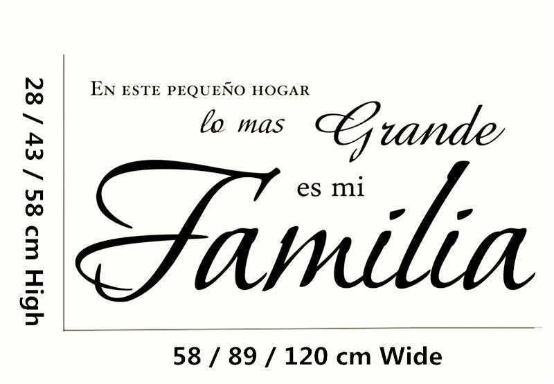 """""""En este pequeno hogar lo mas grande es mi ฟะ mi lia"""" สเปนไวนิลรูปลอกผนังสติ๊กเกอร์ตกแต่งบ้านผนังศิลปะภาพจิตรกรรมฝาผนัง"""