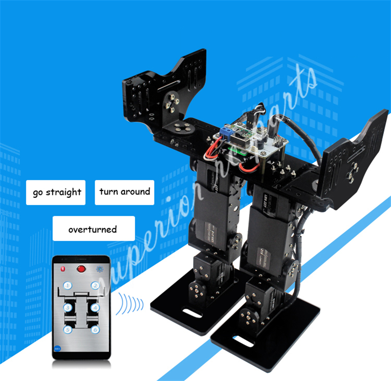 DIY 6 DOF Biped Walking Humanoid Robot Servo Bracket Mechanical Arm Gaming Educational Robot цена