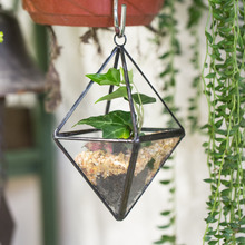 Modern Gardening Hanging Planter Geometric Glass Container Garden Air Plant Flower Pot Bonsai Succulent Plant Pot