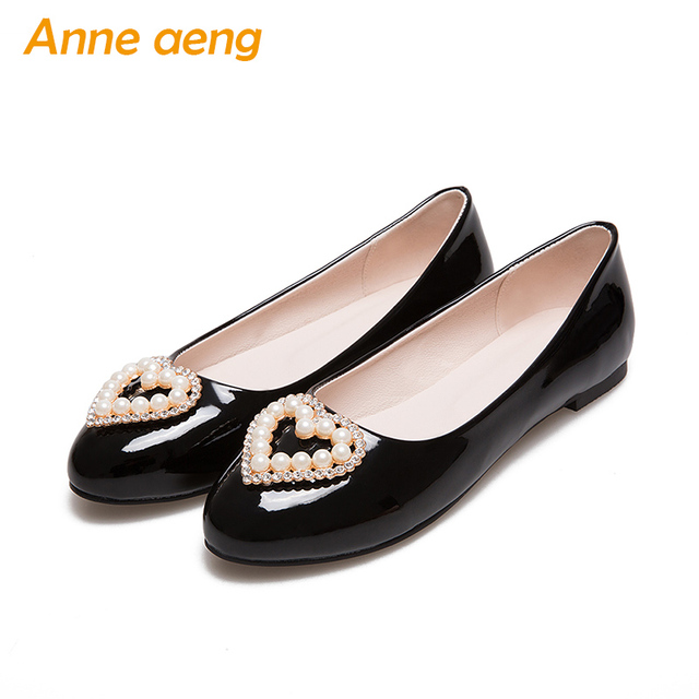 03ce6d5d787 women shoes autumn loafer flats casual lazy shoes heart shape with pearls  sweet ladies women shoes black flats big size 33-46