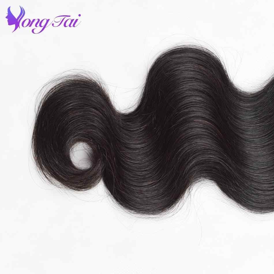 YuYongtai hair Indian Body wave Lace Frontal Closure With Bundles 13x4 Human Hair Bundles Remy hair  5PCS Ear To Ear