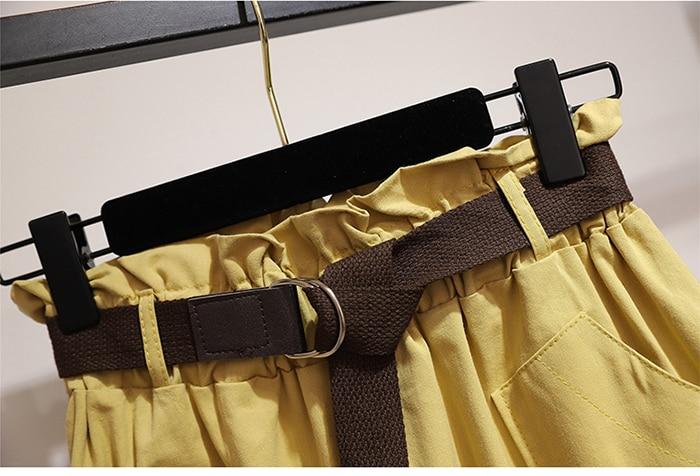 Surmiitro Midi Knee Length Summer Skirt Women With Belt 19 Spring Casual Cotton Solid High Waist Sun School Skirt Female 16
