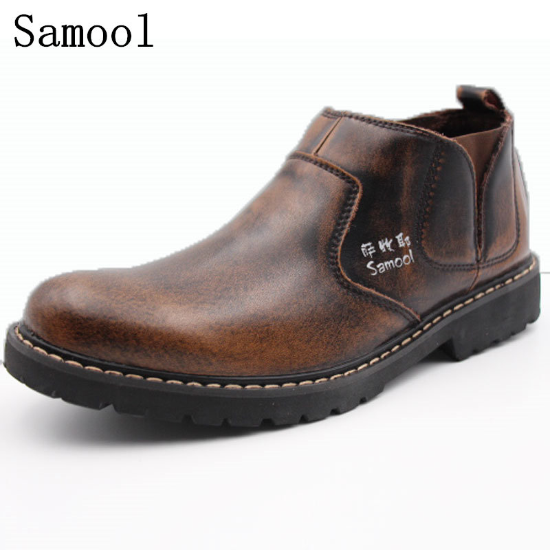 2017 Autumn Winter high quality new fashion mens ankle boots genuine leather handmade brown business office men keep warm boots