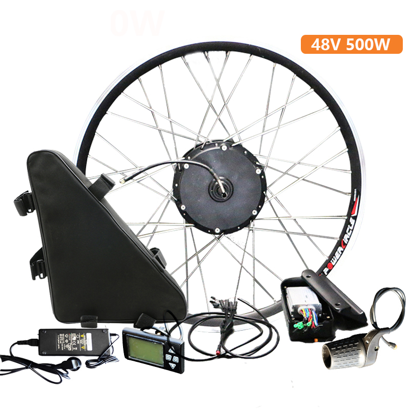 Top 48V 20ah Battery 48V 500W Electric Bike Conversion Kit with Battery Brushless Hub Motor Wheel bicicleta electrica E-bike Kit 0
