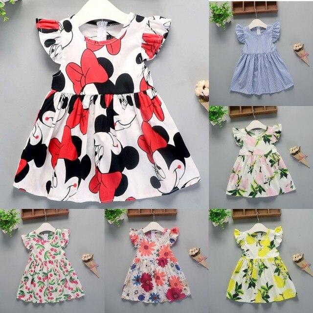 קיץ שמלת תינוק עם שרוולים קצרים אופנה כותנה שמלת מיני פרחוני באיכות גבוהה יום הולדת מסיבת שמלת תינוקת בגדים