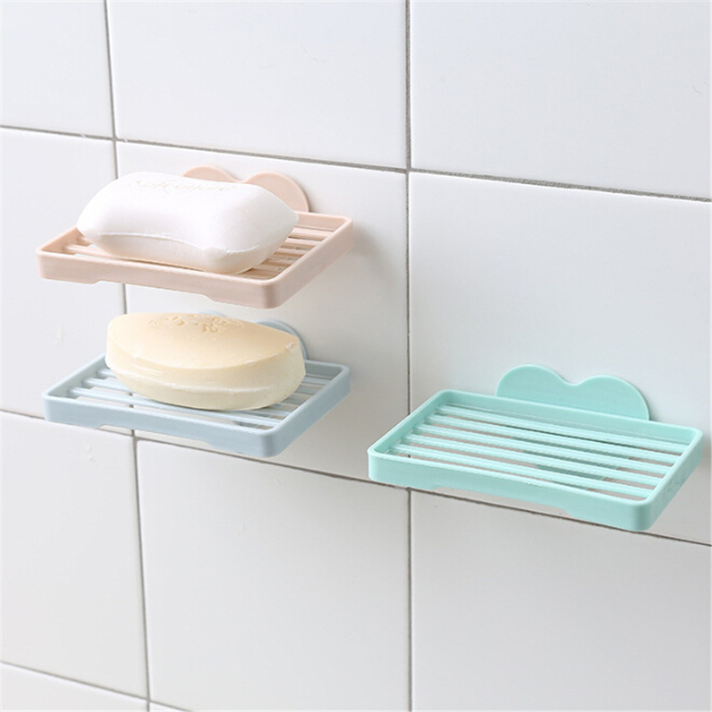 Heart Shape Sucker Soap Dish Bathroom Kitchen Wall-Mounted Drain Suction Cup Hollow Soap Shelf Holder