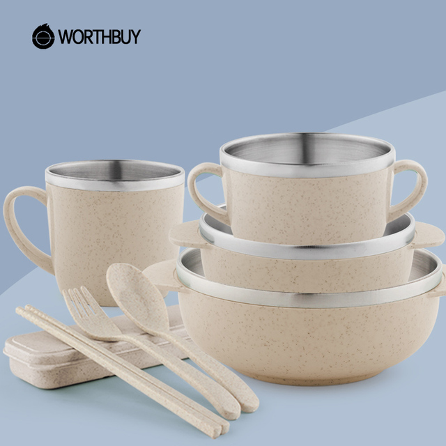 WORTHBUY 304 Stainless Steel Tableware Set With Eco Friendly Wheat Straw Kitchen  Dinnerware Set For