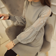 2017 New Winter Women dress Patchwork Lace Small Sleeve Sweater Dresses Gray Black Dark Khaki Color Wine Red 830