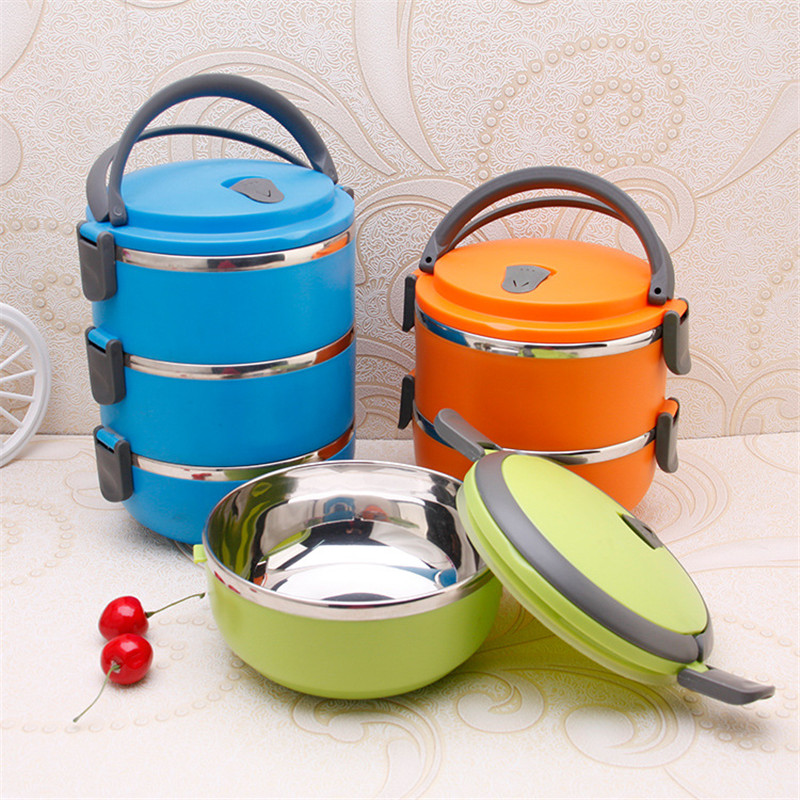 3 Layer Bento Box Stainless Steel Lunch Box For Kids Preservation