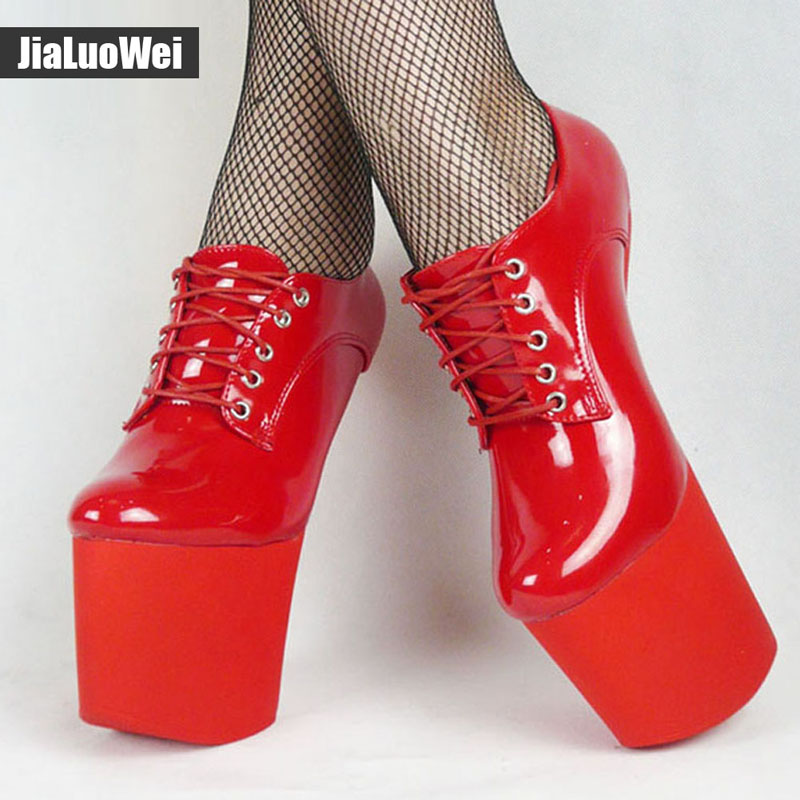 9855b503d430 ... jialuowei BDSM Extreme High heel Strange Hoof heelless sexy shoes lace  up more colors patent unisex ...