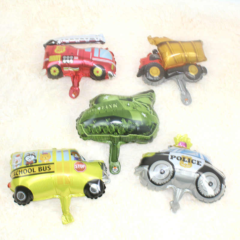 16 Inci Mobil Transportasi Balon Api Polisi Truk Mini Balon Bus Sekolah Tangki Pesta Ulang Tahun Anak-anak Globos