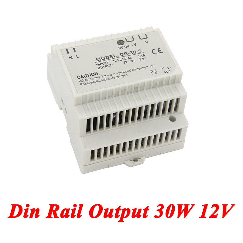 DR-30 Din Rail Power Supply 30W 12V 2A,Switching Power Supply AC 110v/220v Transformer To DC 12v,ac dc converter ac dc dr 60 5v 60w 5vdc switching power supply din rail for led light free shipping