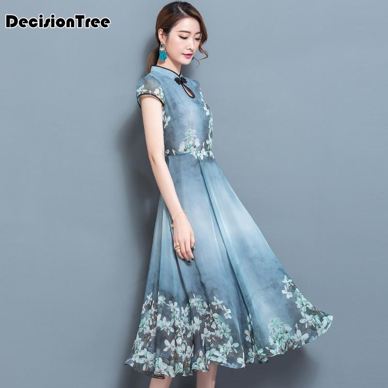 2019 navy blue traditional chinese dress womens satin qipao sexy vintage cheongsam flower