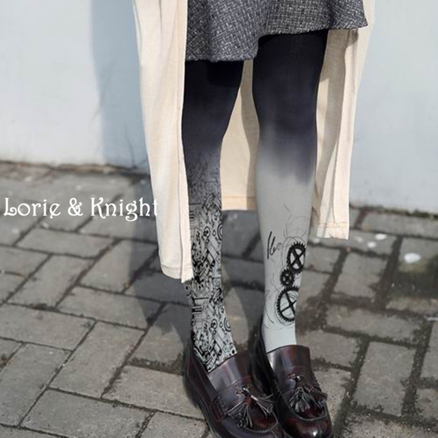 Japanese Harajuku Metal & Gear Print Punk Lolita Tights Street Fashion Women Hosiery