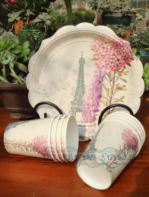 80Sets Canape Party Supplies Tableware 9  Paper Plates Eiffel Tower 250ml Paper Cups 33 x & 80Sets Canape Party Supplies Tableware 9
