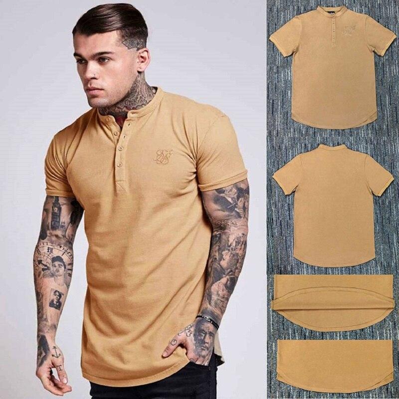 Tide marque décontracté hommes simple bouton à manches courtes T-shirt hommes bouton t-shirt style décontracté