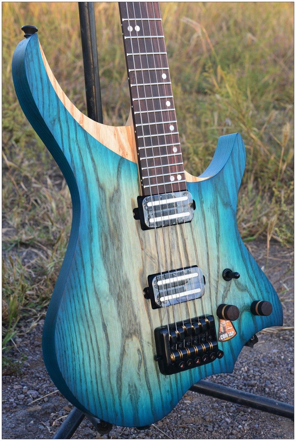 NK Sans Tête Guitare Électrique steinberger style Modèle Blue burst couleur 3 photos Flamme manche érable en stock Guitare livraison gratuite