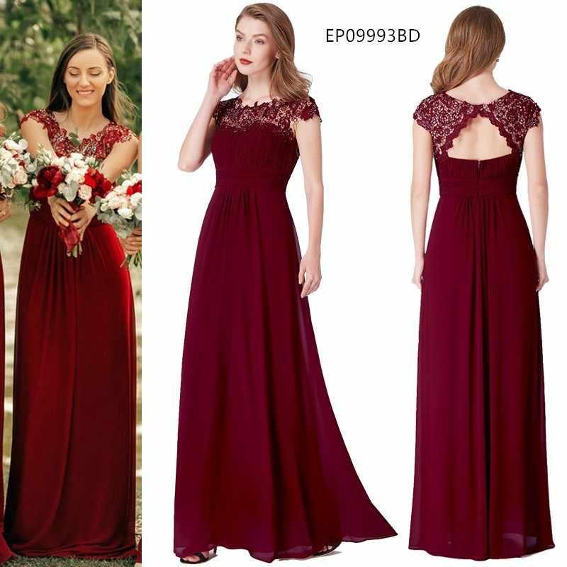 Ever Pretty Бордовые Платья для подружки невесты длинные шифоновые аппликации Дешевое платье в пол свадебное платье подружки невесты вечерние платья
