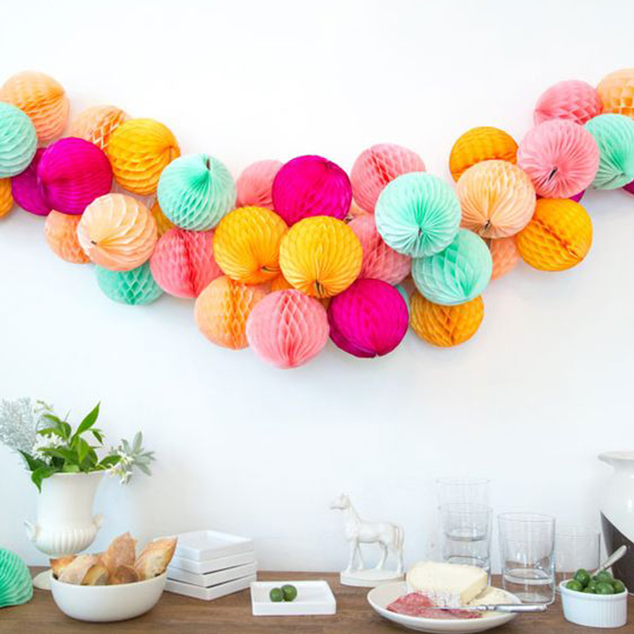 Events Wedding Birthday Party Decorations Big 25Cm Tissue Paper Honeycomb Balls Paper Lanterns Home Festival Party Supplies in Party DIY Decorations from Home Garden