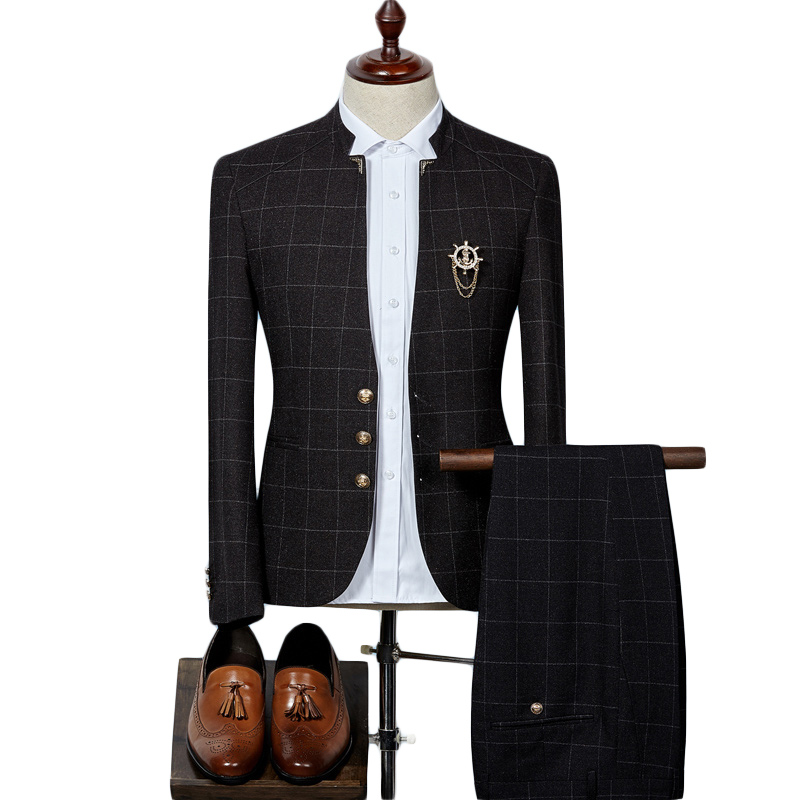 Mens Plaid Suits Latest Coat Pant Designs Chinese Style Stand Collar Slim Fit Groom Wedding Suit Formal Wear Q341