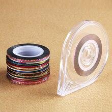30ロール + 1ケース混合色ロールスストライピングテープラインdiyのネイルアートのヒントデコレーションステッカーメタリック糸ストリップ