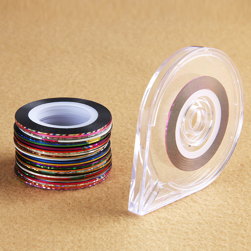 30 Rolls +1 Case Mixed Colors Rolls Striping Tape Line DIY Nail Art Tips Decoration Sticker Nail Art Metallic Yarns Strips