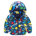 New baby boy clothes cartoon hooded cotton coat 2016 autumn/winter children warm clothes free shipping