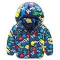 Nueva ropa de bebé niño de dibujos animados de algodón con capucha abrigo de 2016 otoño/invierno de los niños ropa de abrigo envío gratis