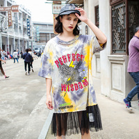 Tie dye Pin+Sequin Gothic Letters Tshirt Women Patchwork Mesh Hip Hop Tees Loose Cotton NEW Hollow Out Gradient Color Tops