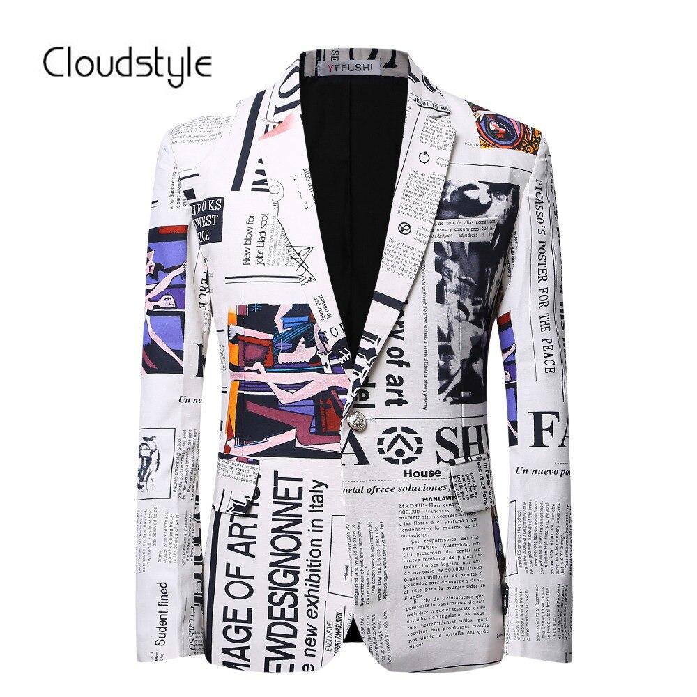 2018 Nouvelle Arrivée De Luxe Hommes Blazer Costume Slim Fit Costume Homme 3D Imprimer Blazer Hommes D'affaires Décontractée Robe Blazer Masculino