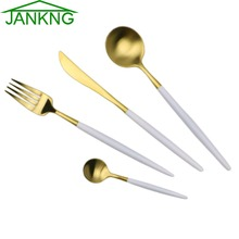 JANKNG 24 Pcs/Lot White Handle Gold Stainless Steel Flatware Set Luxury Cutlery Set Matte Knife Fork Spoon Dinnerware Tableware