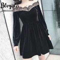 Blvyisla Lace Mesh Patchwork Long Sleeve Black Velvet Dress Gothic Retro Mini Dresses Slim Lolita