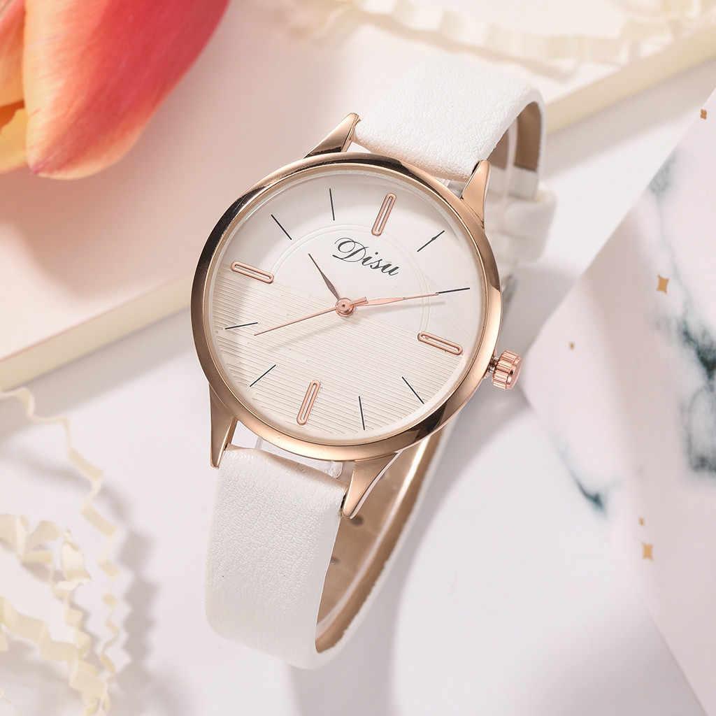 יוקרה אופנה גברת פשוט חיוג עור חגורת שעון שני טון קוורץ שעון קיר שעון מודרני עיצוב מדבקת часы жнские reloj 50