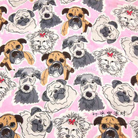 140X100cm Illustration Wind Pet Dog Pink Cotton Sateen Fabric for Baby Girl Clothes Sleepwear Quiliting Bedding Set DIY-AFCK773