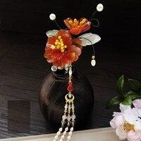 Yu Yan Jade Petal Flower Hair Stick Vintage Chinese Hanfu Costume Accessories Red Agate Petal Pearl