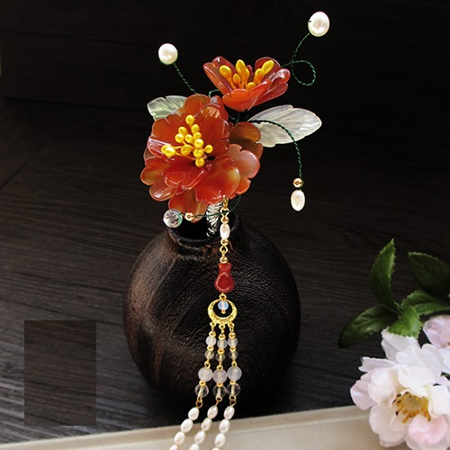 Yu Yan Jade Petal Flower Hair Stick Vintage Chinese Hanfu Costume Accessories Red Agate Petal Pearl Long Tassel Hair Stick