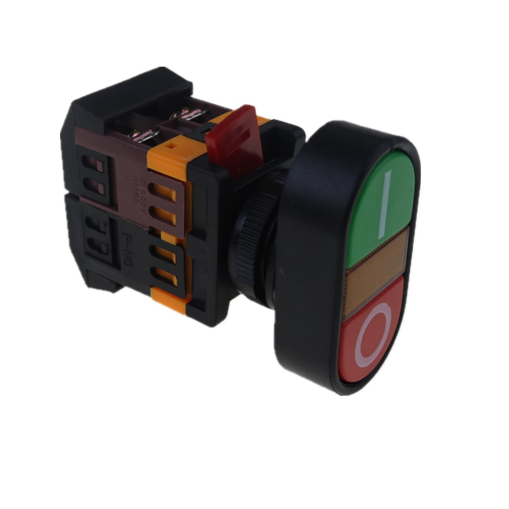 цена на 22mm 24V 36V 48V 110V 220V 380V ON/OFF START STOP 1 NO NC APBB-22N Momentary Push Button Switch With LED yellow Lamp