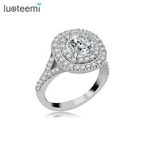 2014 Hot Sale Luxury White Gold Plated Swiss Top Cubic Zirconia Wedding Rings For Woman