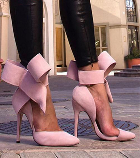 womens pumps New Sexy Bowknot Closed Toe shoes woman high heels chaussures talons green high heels wedding chaussures femme