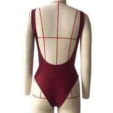 Sexy Midriff Women Bikini Suit One Piece Padded Monokini Swimwear Solid Wine Red 2018 Beach wear Vocation Biquinis backless