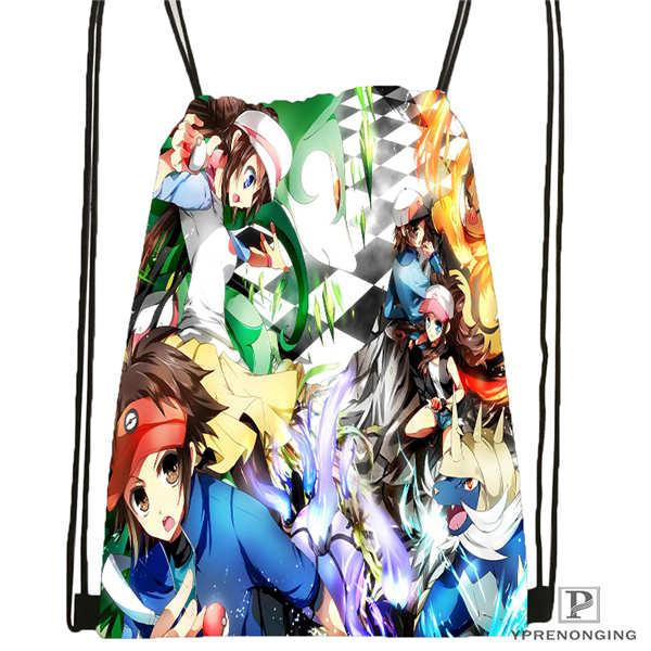 Custom Pokemon-black-and-white@1 Drawstring Backpack Bag Cute Daypack Kids Satchel (Black Back) 31x40cm#180612-02-24