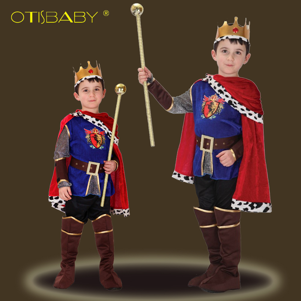 3PCS Christmas Boys Clothing Set Carnival Cosplay The King Halloween Costume Children Fantasia Children's Day Boy Prince Clothes children egyptian pharaoh costumes 2016 new cosplay masquerade halloween childen kid suit cleopatra royal fantasia disfraces
