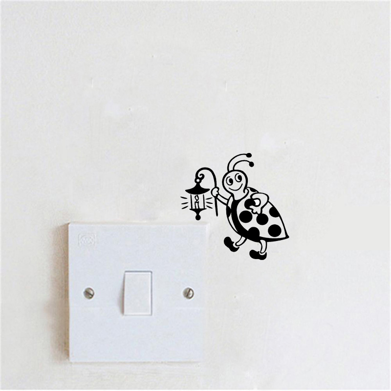 507f0ae6 Fashion Switch Sticker Ladybug Holding A Lamp Creative Vinyl Wall Stickers  For Kids Rooms 2WS0336