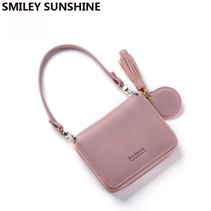 SMILEY SUNSHINE 2018 new women wallets korean zipper small short lady wallets tassel hand money bags female wallets and purses short smiley