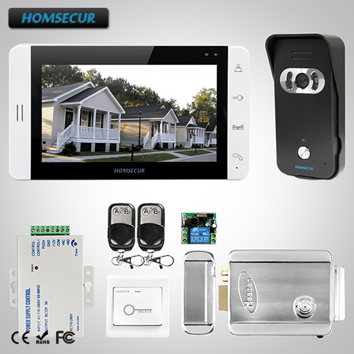 HOMSECUR 7 Video Door Entry Security Intercom+Monitor for Apartment : L3:TC021-B Camera(Black)+TM703-W Monitor(White)+Lock