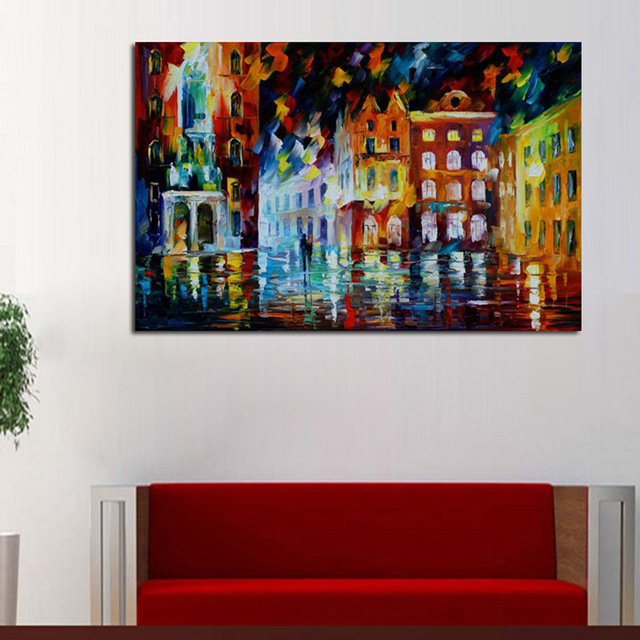 55 Free-shipping-Abstract-Golden-City-Houses-Knife-Oil-Painting-On-Canvas-City-Night-Scenery-Picture-Wall (1)