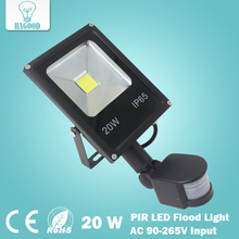 Newest 85-265V 10W 20W 30W 50W led flood light led spotlight new type black shell PIR Motion sensor Induction Sense led lamp