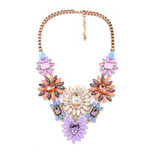Fashion Vintage Exaggerated Full Crystal Jewel Sun Flower Alloy Necklace Rhinestone Pendant Clavicle Chain Boutique