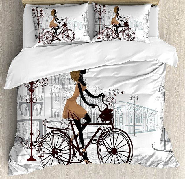 Teen Room Decor Duvet Cover Set Young Girl in Paris Streets with Bike  French Display Decorative 4 Piece Bedding Set